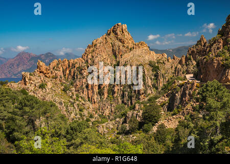 Taffoni rocks, orange porphyritic granite rocks, Les Calanche de Piana, UNESCO World Heritage Site, near town of Piana, Corse-du-Sud, Corsica, France - Stock Photo
