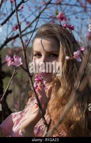beautiful blonde woman in a flowered rose garden - Stock Photo