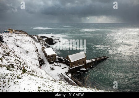 Lizard Point Lifeboat House; Cornwall; UK - Stock Photo