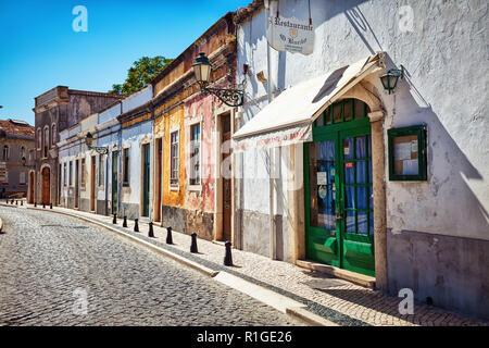 Facade of a restaurant in the city of Faro, Algarve region, Portugal - Stock Photo