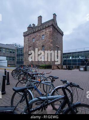 EDINBURGH, SCOTLAND - NOVEMBER 10th 2018: The Merchiston Tower at the Edinburgh Napier campus. - Stock Photo