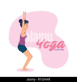 Girl doing yoga pose design - Stock Photo