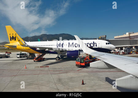 Monarch aircraft. Malaga, Andalucia, Spain, Europe - Stock Photo