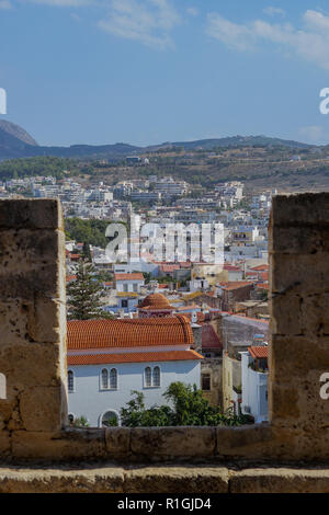 View over the old town of Rethimno from hilltop fortress. Rethimno, Crete Island. - Stock Photo