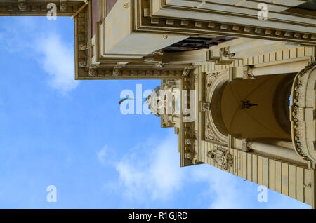 Architectural element from a country building in Baku with an overview from below.State institution, Executive power,Azerbaijan,Baku. - Stock Photo