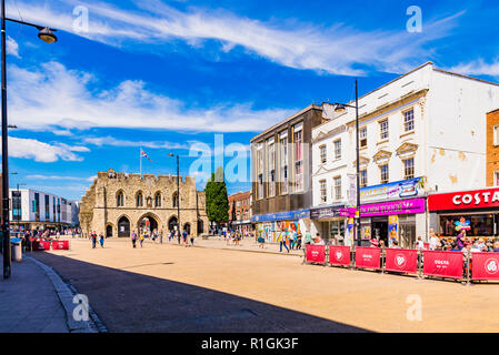 High stret, Bargate in the background. Southampton, Hampshire, England, United Kingdom, UK, Europe - Stock Photo