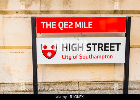 The QE2 Mile. Street name plaque for Southampton High Street. Southampton, Hampshire, England, United Kingdom, UK, Europe - Stock Photo