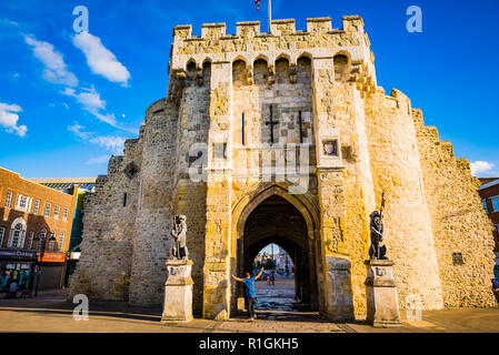 The Bargate is medieval gatehouse in the city centre of Southampton. North side. Southampton, Hampshire, England, United Kingdom, UK, Europe - Stock Photo