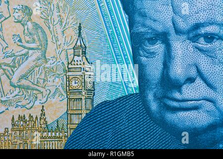 The Bank of England polymer £5 note featuring Sir Winston Churchill - Stock Photo
