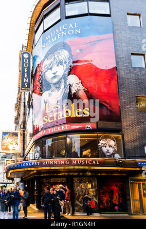 Les Miserables. The Queen's Theatre is a West End theatre located in Shaftesbury Avenue on the corner of Wardour Street in the City of Westminster. Lo - Stock Photo
