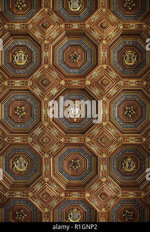 Renaissance coffered ceiling in the ballroom in the Palace of Fontainebleau (Château de Fontainebleau) near Paris, France. The room decoration started under King Francis I of France was completed by his son Henri II. - Stock Photo