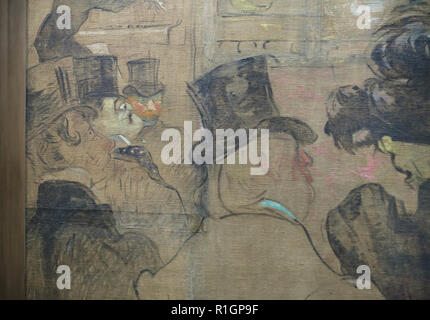 Irish novelist and poet Oscar Wilde depicted in the painting 'Booth of La Goulue at the Foire du Trône' ('The Moorish Dance') by French Post-Impressionist artist Henri de Toulouse-Lautrec (1895) on display in the Musée d'Orsay in Paris, France. - Stock Photo