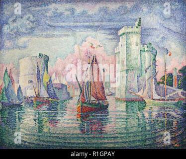 Painting 'Entrance of La Rochelle Harbor' ('Entrée du port de la Rochelle') by French Neo-Impressionist painter Paul Signac (1921) on display in the Musée d'Orsay in Paris, France. - Stock Photo