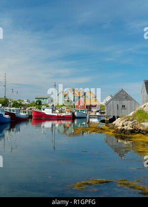 Image of fishing boats in Peggy's Cove, Nova Scotia, Canada. - Stock Photo
