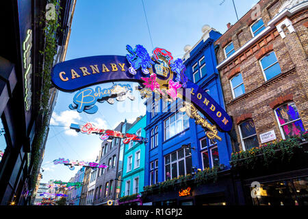 November 2018 - Carnaby Street Bohemian Rhapsody lights, in collaboration with 20th Century Fox's film release, London, UK - Stock Photo