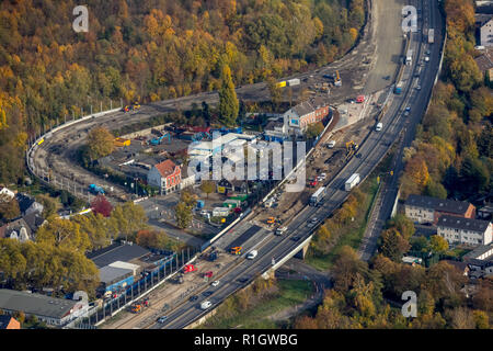 Aerial view, motorway construction site A2 Altenessen, Karnap, motorway A2, softening of the road ceiling, blocking of one lane, Essen, Ruhr area, Nor - Stock Photo