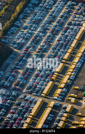 Aerial View, new electric cars the Federal Post Office, E-vans, electric vans, postal delivery, Causeway, new car parking, new cars DHL, Externberg, D - Stock Photo