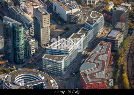 Aerial View, FLOAT, Dusseldorf, new construction of office and commercial building 'FLOAT' WITTE project management, Dusseldorf media port, Francis St - Stock Photo