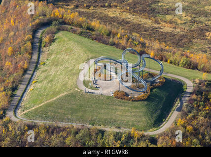 Aerial view, Tiger & Turtle - Magic Mountain, landmark, art installation, former dump depot, Angerhausen, Duisburg, Ruhr area, North Rhine-Westphalia, - Stock Photo