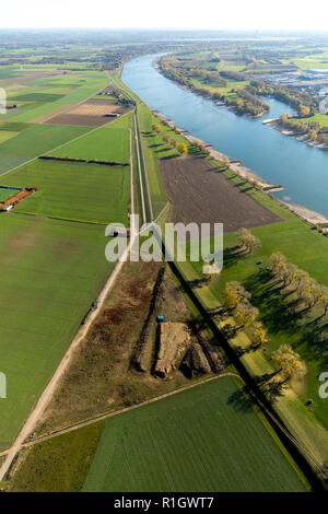 Aerial view, dam on the Rhine, flood protection near Serm, Rhine bank, Serm, Duisburg, Ruhr area, North Rhine-Westphalia, Germany, DEU, Europe, aerial - Stock Photo