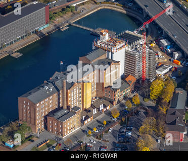 Aerial view, museum Küppersmühle for modern art, inner harbor, art museum, reconstruction of the museum, Duisburg, Ruhr area, North Rhine-Westphalia,  - Stock Photo