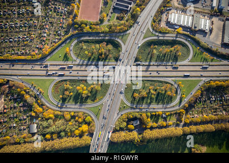 Aerial photograph, Duissern motorway junction, Duisburg Mitte intersection, A40 motorway, A59 motorway, Duissern, Hleingärten on the motorway,, Clover - Stock Photo