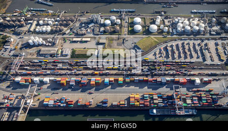 Aerial view, Duisport, Duisburg port, Logistics, Goods transport, Container, Container loading, Goods transfer point, Inland navigation, Kasslerfeld,  - Stock Photo