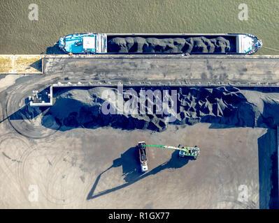 Aerial photograph, Duisport, coal loading, port of Duisburg, logistics, goods transport, goods transfer, inland shipping, Kasslerfeld, Duisburg, Ruhr  - Stock Photo