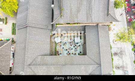 Aerial view of a cafe in Taikoo Li  Mall, Chengdu, Sichuan Province, China - Stock Photo