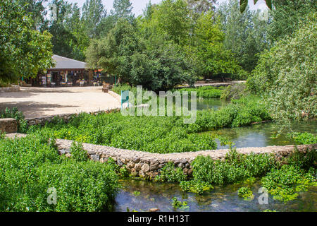 Part of the ancient Banias water gardens and pathways at the bottom of Mount Hermon in the North Golan Heights Israel - Stock Photo