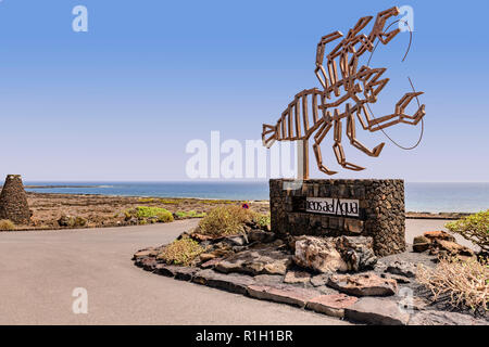 Lobster sculpture at the entrance to Jameos del aqua, Lanzarote Canary islands - Stock Photo