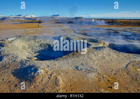 Mud pots and geothermal field in Iceland - Stock Photo