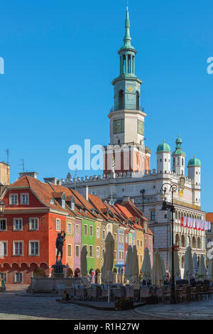 Poznan Market Square, view of the Fish Sellers' Houses and the renaissance Town Hall in Market Square (Stary Rynek), Poznan Old Town, Poland. - Stock Photo