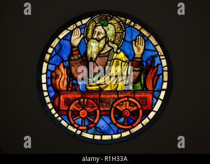 Elias the Prophet on the Fiery Chariot depicted in the stained-glass window designed by Italian medieval painter Taddeo Gaddi (1320-1340) on display in the Museo dell'Opera di Santa Croce (Museum of the Works of the Basilica of the Holy Cross) in Florence, Tuscany, Italy. - Stock Photo