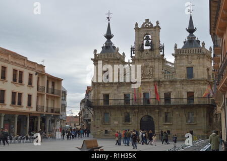 Main Facade Of The Town Hall And Main Square On A Cloudy Day In Astorga. Architecture, History, Camino De Santiago, Travel. November 1, 2018. Astorga, - Stock Photo