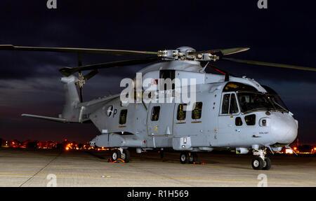 Royal Navy Merlin MK4 Commando Helicopter - Stock Photo