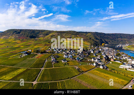 Aerial view, Poltersdorf with vineyards at the Moselle, district Cochem-Zell, Rhineland-Palatinate, Germany