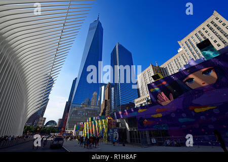 Construction site with graffiti decorated walls in front of the Oculus, subway station, World Trade Center Transportation Hub - Stock Photo