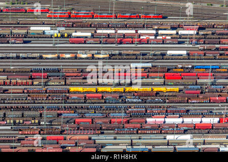 Marshalling yard Hagen-Vorhalle with freight wagons on tracks, freight trains, Hagen, Ruhr Area, North Rhine-Westphalia, Germany - Stock Photo