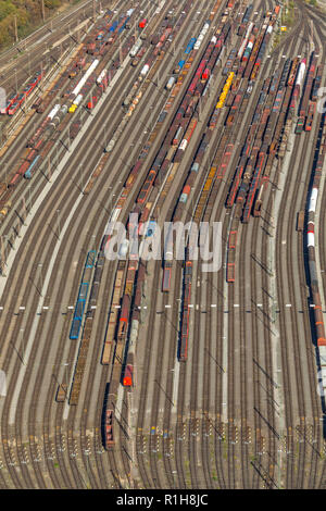 Marshalling yard Hagen-Vorhalle, tracks with freight wagons, Hagen, Ruhr area, North Rhine-Westphalia, Germany - Stock Photo
