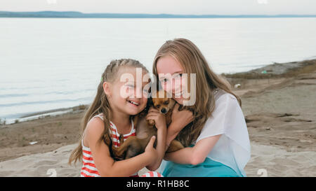 Two children playing which dogs on the sand on the beach. - Stock Photo
