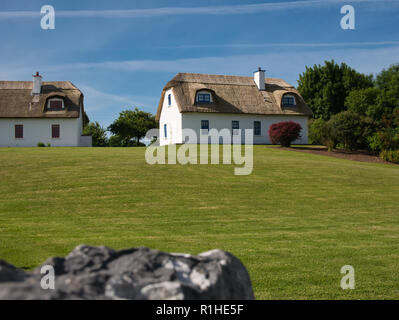 Two new traditional houses with a reed roof in Ireland - Stock Photo