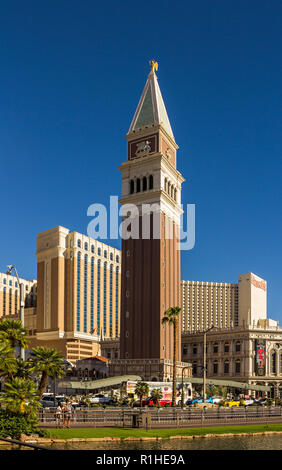 LAS VEGAS, NV, USA - September 12, 2018: Downtown, Las Vegas Strip, some sights near the hotel-casino The Venetian, daytime. - Stock Photo