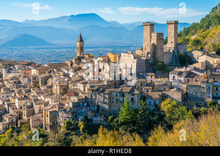 Pacentro in a late autumn afternoon, medieval village in L'Aquila province, Abruzzo, central Italy. - Stock Photo