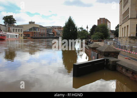 Heavy flooding as seen from the Aviva building in York, North Yorkshire. - Stock Photo