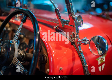 Details of a vintage car in the Brooklands Museum, Surrey - Stock Photo