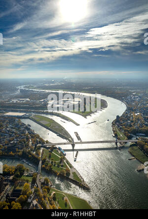 Aerial View, Ruhr estuary, Rhine-Herne Canal, Rhine Orange, river, estuary, Ruhr, Rhine, Ruhr place, Homberger bridge, backlight, low tide, water refl - Stock Photo