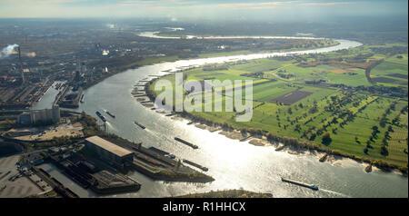 Aerial view, Rhine bend near Duisburg Walsum, Duisburg north, industrial backdrop, Rhine meadows, meadows, fields, river, water reflexes, low tide, Rh - Stock Photo
