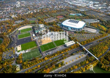 Aerial view, VELTINS-Arena, former Gelsenkirchen Park Stadium, conversion training facilities Schalke 04, football field, football fields, Beckhausen, - Stock Photo