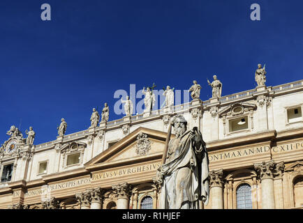 Statue of St. Paul with sword at the Vatican in front of St. Peter's Basilica in Rome, Italy
